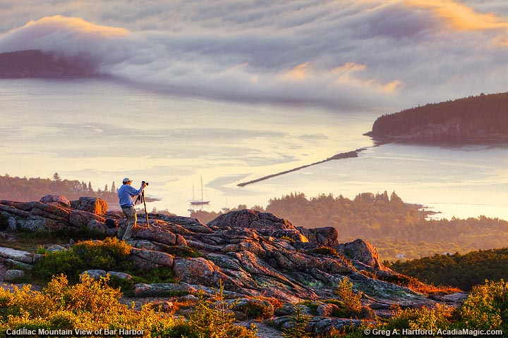 Cadillac Mountain Sunrise over Bar Harbor, Maine