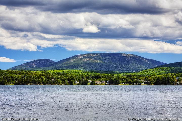 Beautiful view of Cadillac Mountain from Lamoine State Park on the mainland