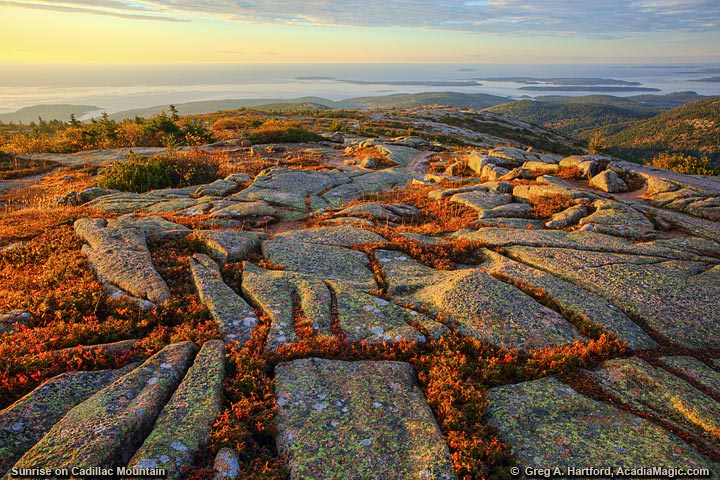 Deep gouges on granite on Cadillac Mountain