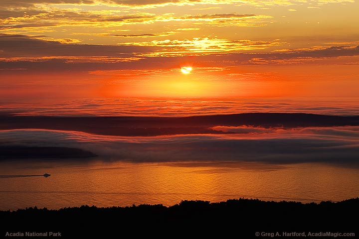 Sunrise and fog over Acadia National Park at Schoodic Peninsula