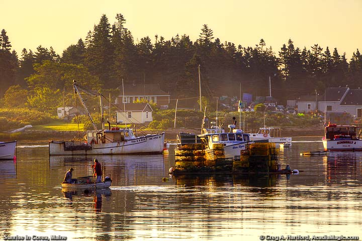 Fishermen row dinghy to lobster boat in harbor