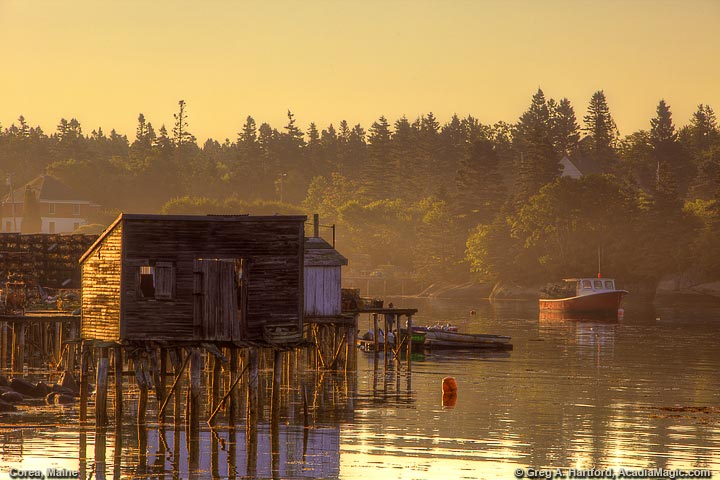 Lobster Shack at low tide in Corea, Maine