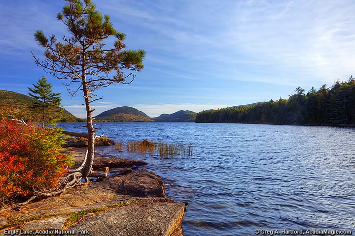 A view from the northern end of Eagle Lake in Bar Harbor, Maine