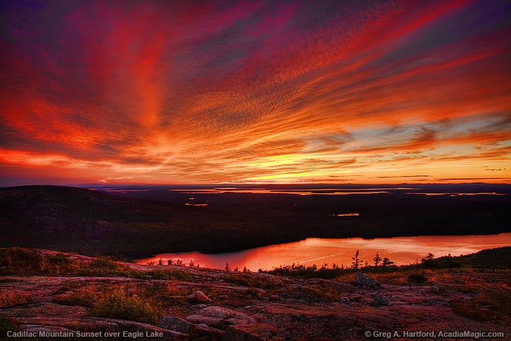 Sunset over Eagle lake seen from Cadillac Mountain in Acadia