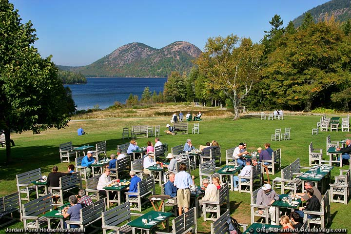 Tea and popovers on the lawn of the Jordan Pond House in Acadia