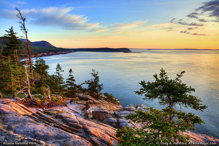 Looking north from Otter Cliff and Point in Acadia