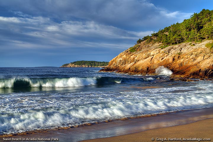 Sand Beach and Otter Cliff in Acadia National Park
