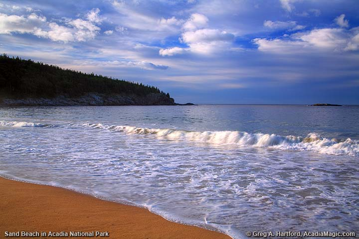 A wave at Sand Beach in Bar Harbor, Maine