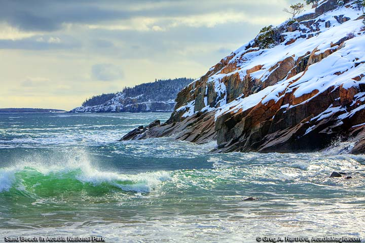 Winter waves at Sand Beach in Acadia National Park