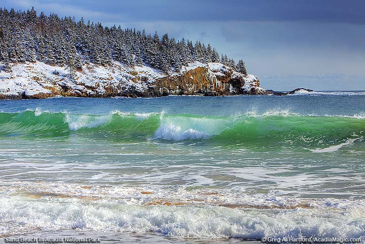 Winter at Sand Beach in Acadia National Park