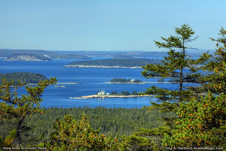 Western view of islands and lighthouse from Schoodic Head
