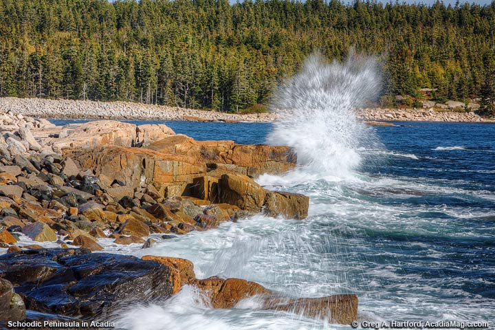 Crashing wave at Arey Cove on Schoodic Peninsula