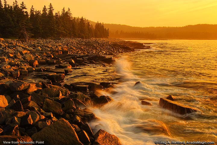 Sunrise view of Arey Cove from Schoodic Point