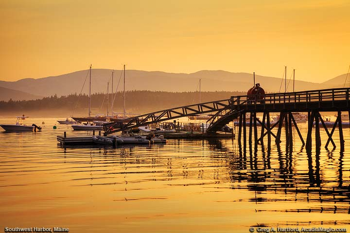 Dock at Sunrise with Acadia Mountains