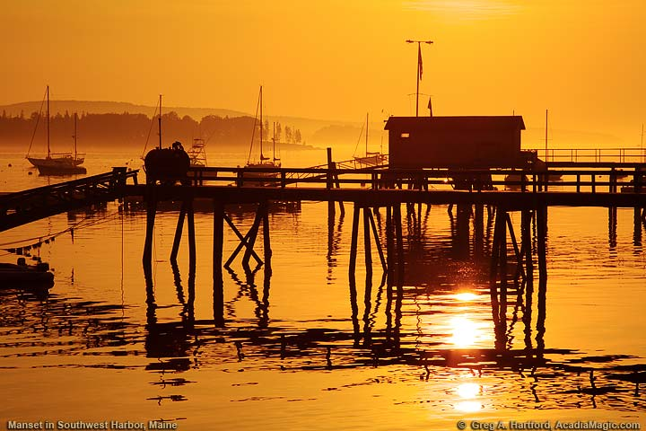 Silhouette of Pier at Sunrise in Manset