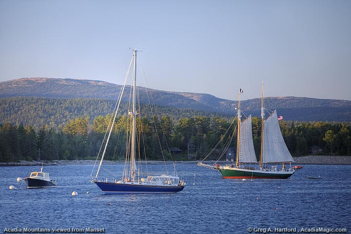 yachts in harbor in front of Cadillac Mountain in Acadia