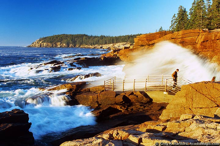 Visitors get wet at Thunder Hole in Acadia National Park