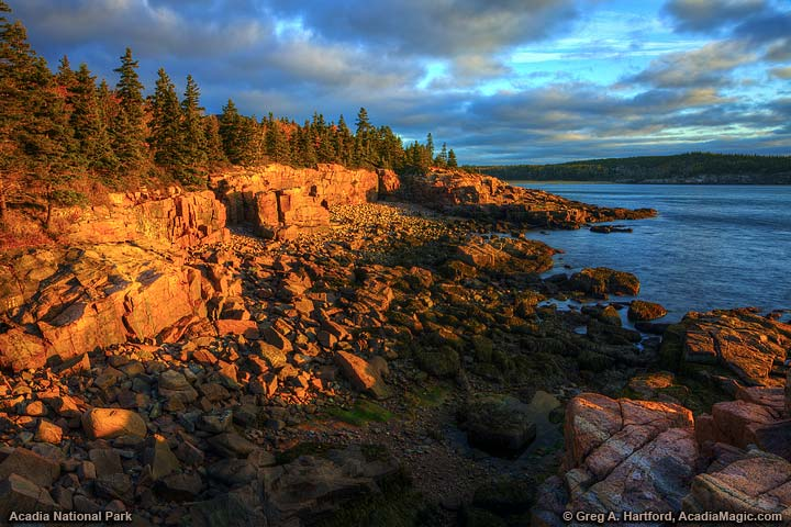 Wet Pink Granite turned red at sunrise near Thunder Hole