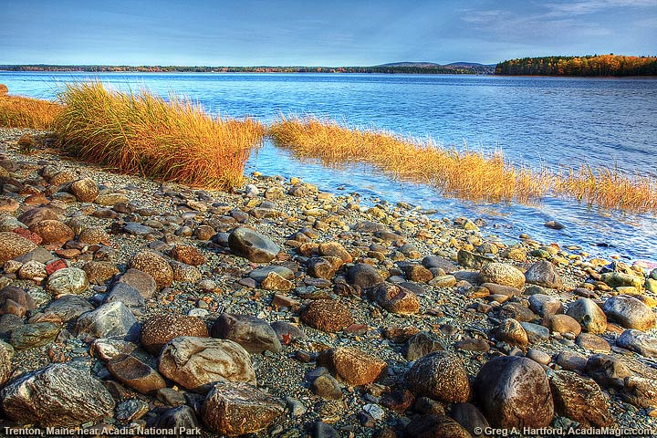 View of southern shoreline of Trenton, Maine during the autumn season
