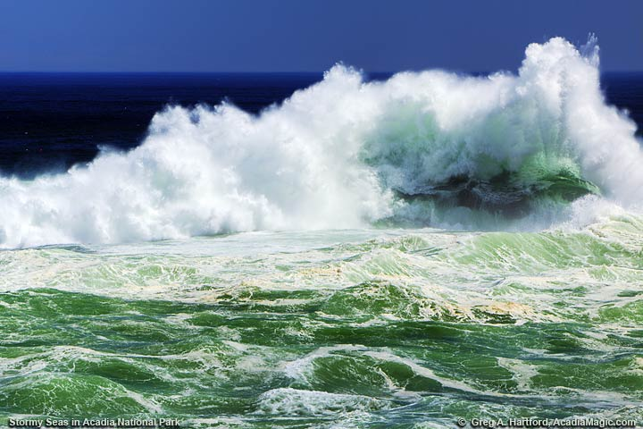 Large ocean wave breaking at the Spindle at Otter Point
