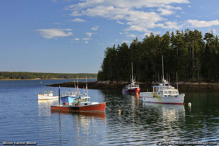 Classic fishing village of Winter Harbor, Maine