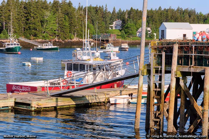 Maine Lobster Boat next to Winter Harbor Dock