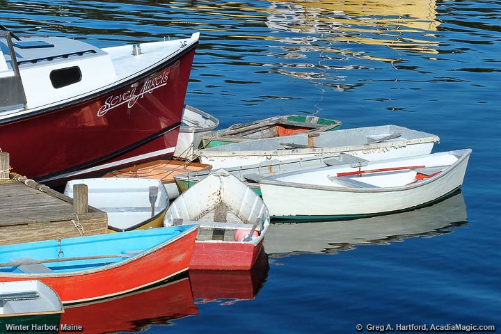 Lobster boat and dingies in Winter Harbor, Maine