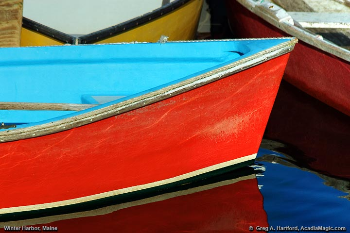 Close-up of red and blue dinghy