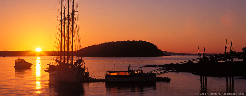 Sunrise in Bar Harbor and Acadia National Park, Maine