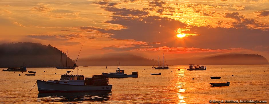 Sunrise with lobster boats in Bar Harbor and Acadia