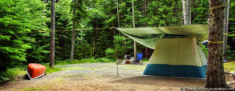 Bar harbor acadia campgrounds maine camping for Camp sites with cabins