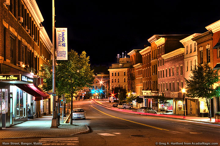 night photo of main street in bangor, maine
