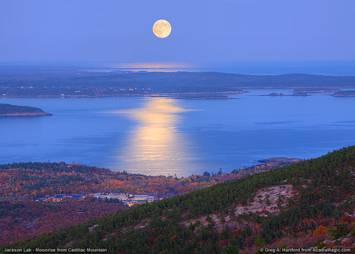 Moonrise over Jackson Lab in Bar Harbor, Maine