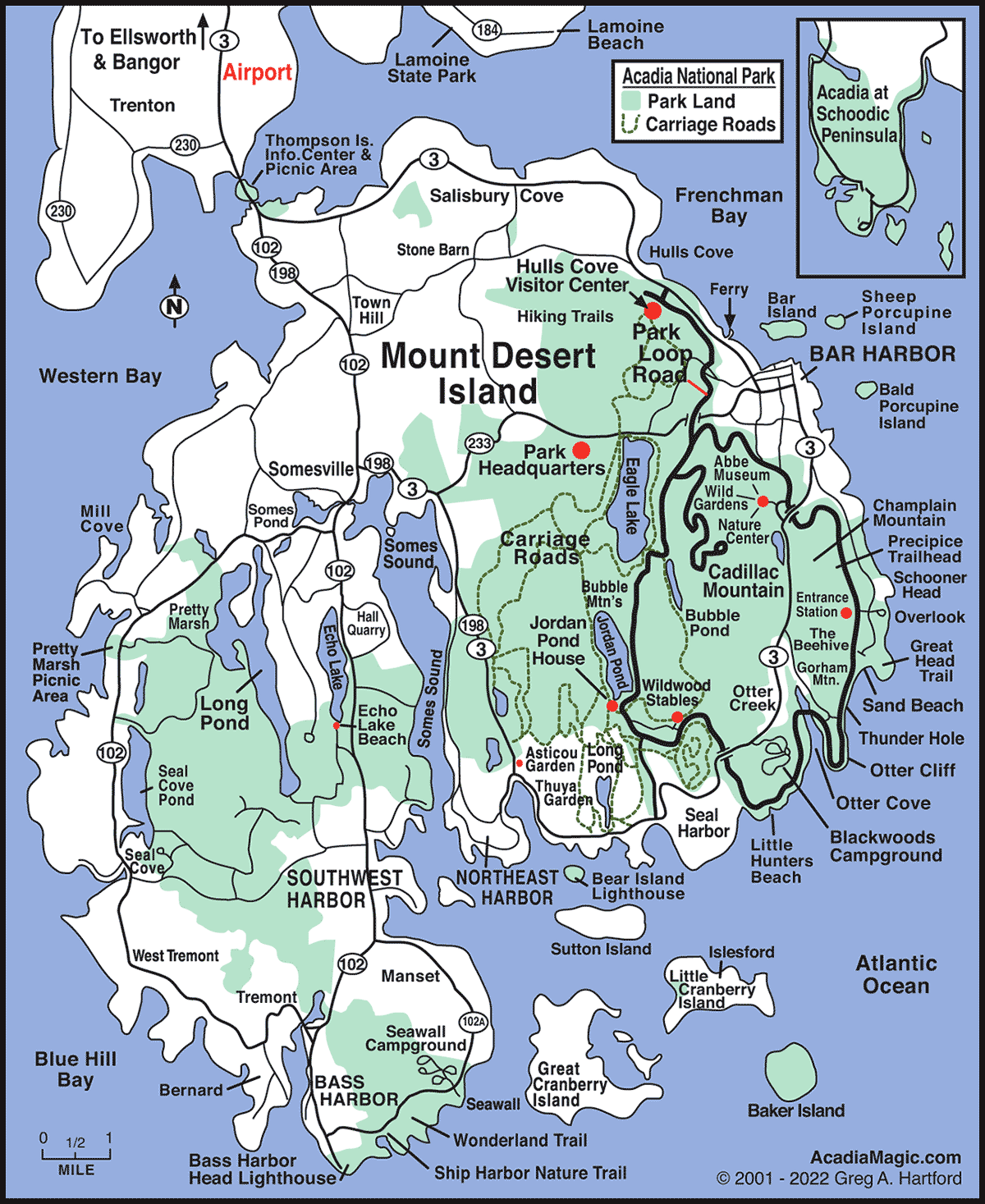 Ocean Park Maine Map.Mount Desert Island Map Acadia Maine