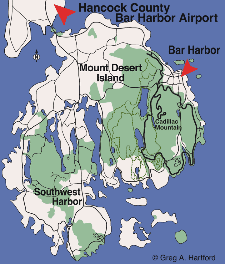 Location map for Bar Harbor Airport