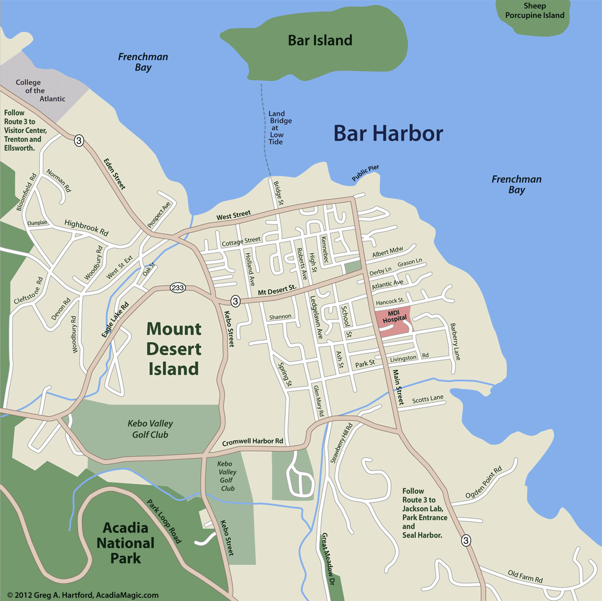 Bar Harbor Street Map