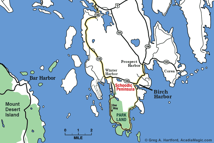 Location map of Birch Harbor in Gouldsboro, Maine