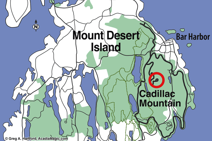 Location of Cadillac Mountain in Acadia National Park