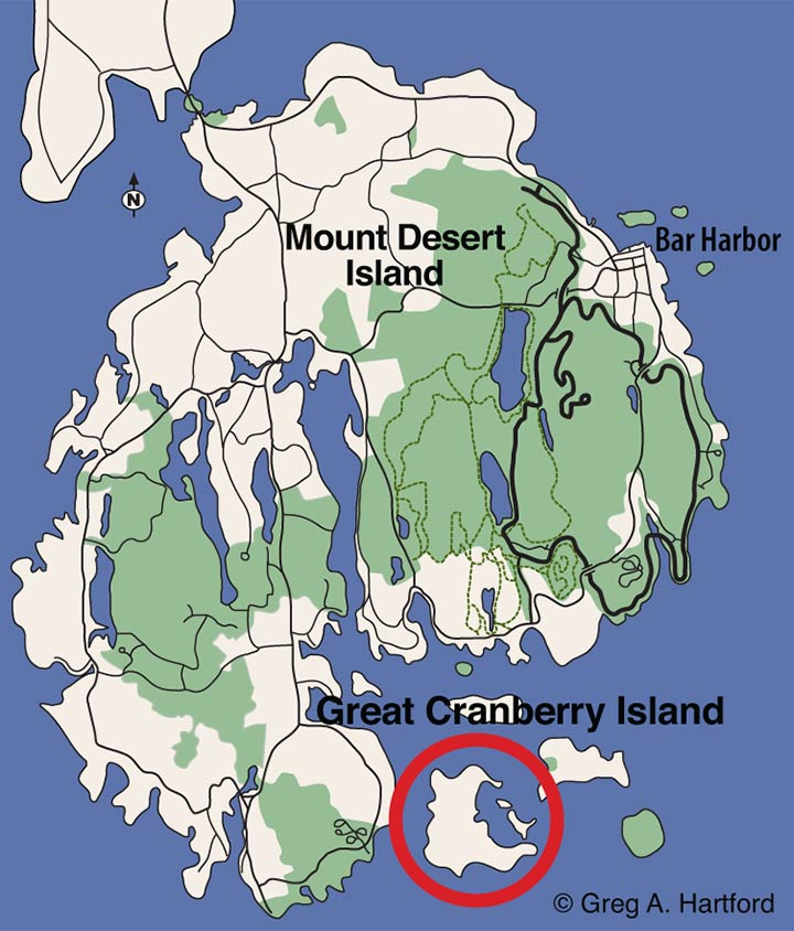 Location map of Great Cranberry Island in Maine