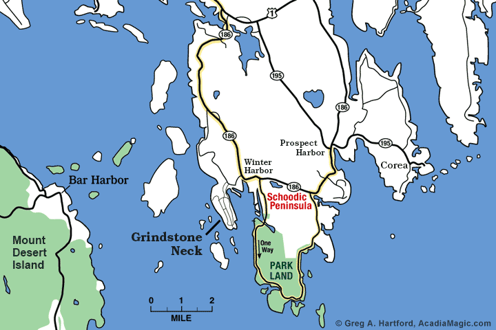 Location map of Grindstone Neck, Maine
