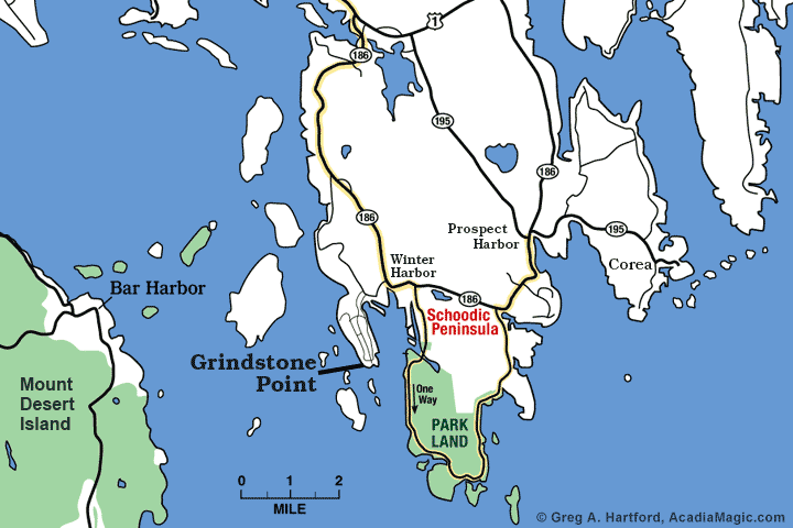 Location map of Grindstone Point in Winter Harbor, Maine