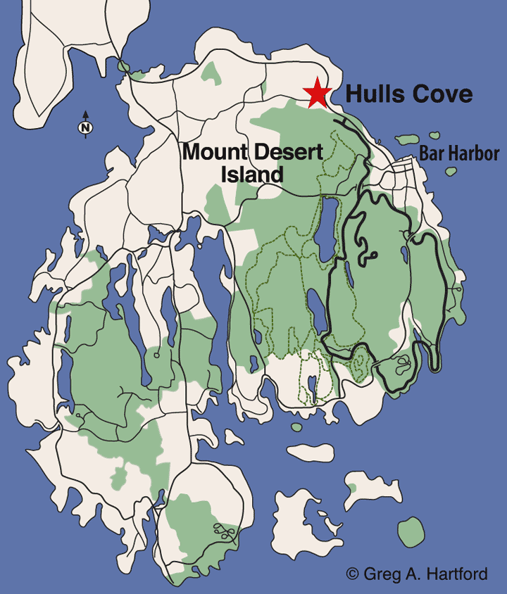 Hulls Cove, Bar Harbor Location Map