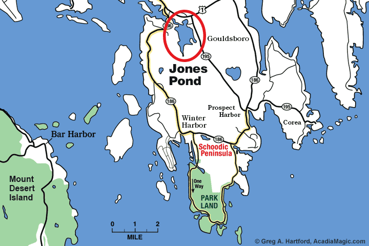 Location map of Jones Pond in Gouldsboro, Maine