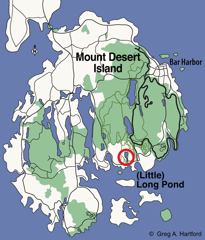 Location map of Long Pond in Seal Harbor, Maine