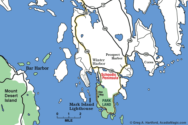 Location map of Mark Island Lighthouse in Winter Harbor, Maine