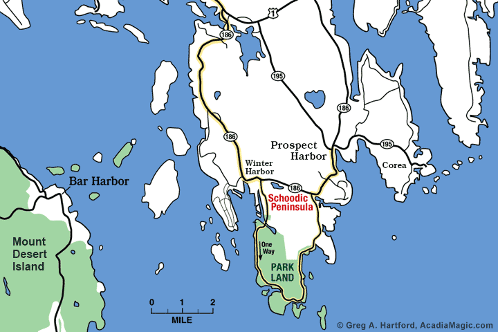 Location map of Prospect Harbor, Maine