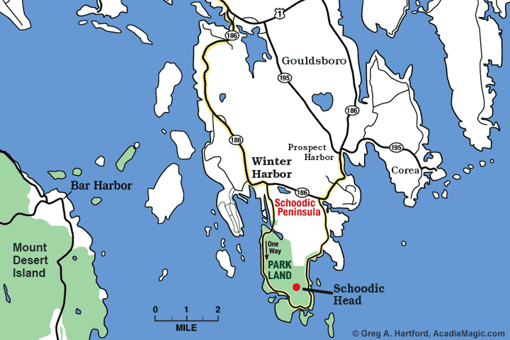 Location map of Schoodic Head in Acadia National Park