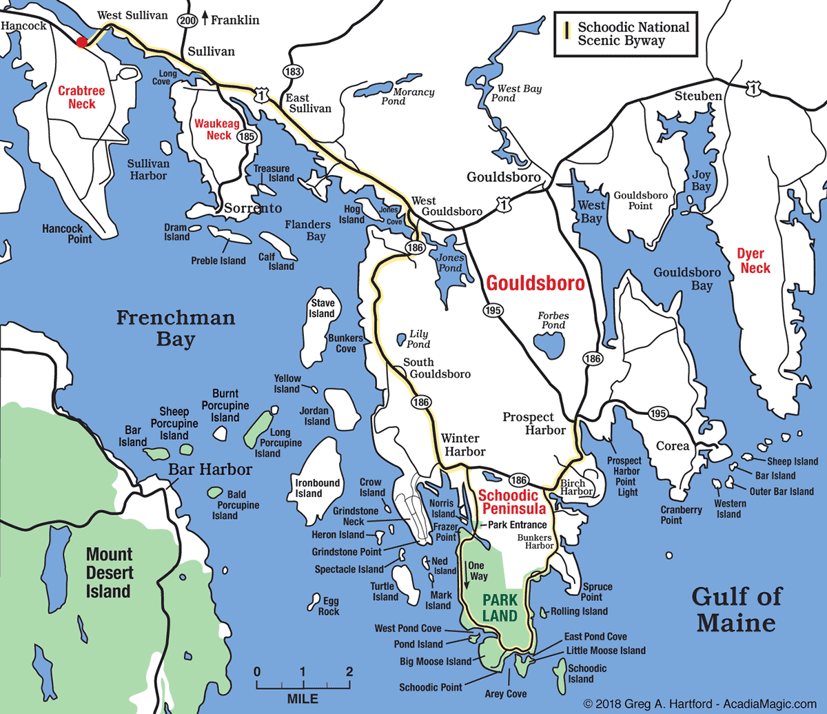Responsive Schoodic Area Map