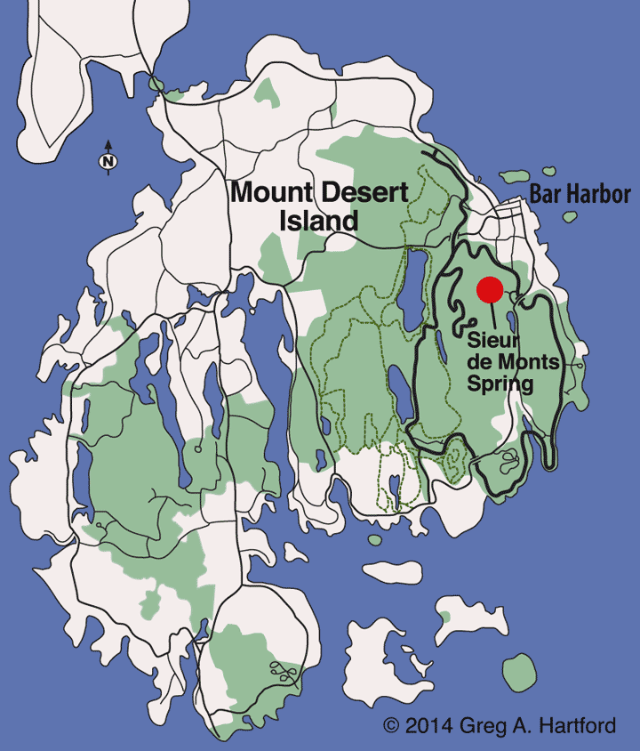 Location map for Sieur de Monts Spring
