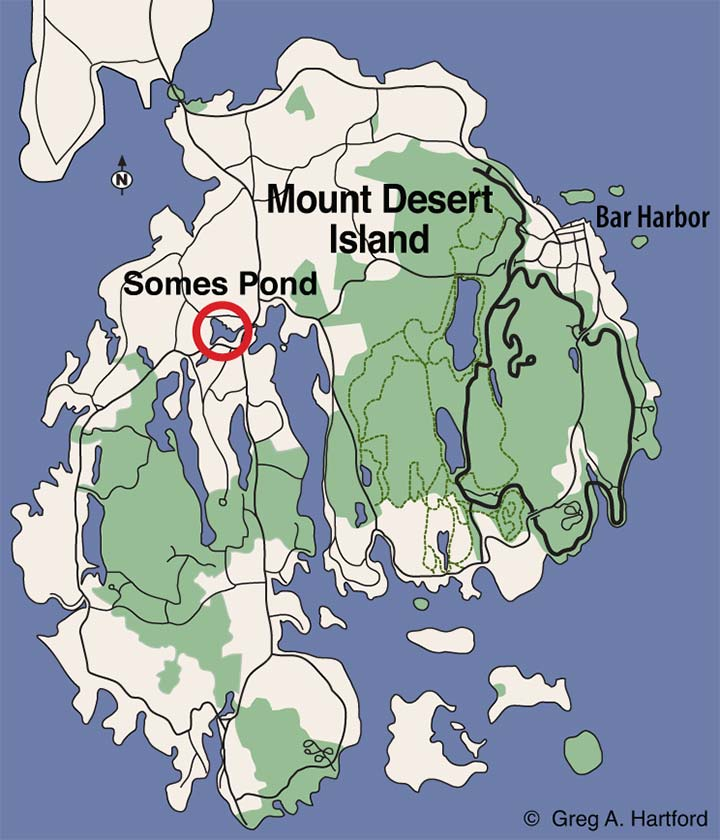 Location map of Somes Pond in Somesville, Maine